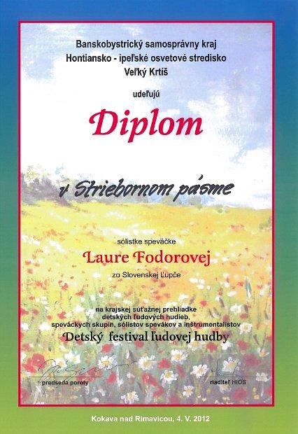 2012 Kokava - Diplom Spev Fodorová Laura