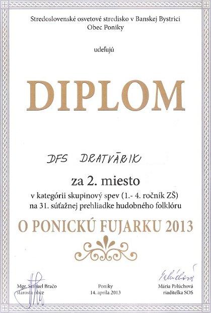 2013 Ponická fujarka XXXI - Diplom 2 miesto spevácka skupina mladší